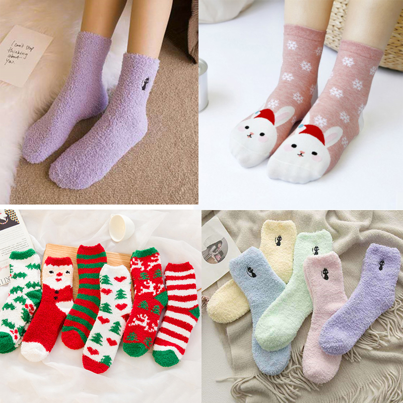 1/2/3Pair Fashion Winter Socks Women Thick Warm Cotton Socks Funny Cute Cartoon Sleep Christmas Ladies Winter Socks Hosiery