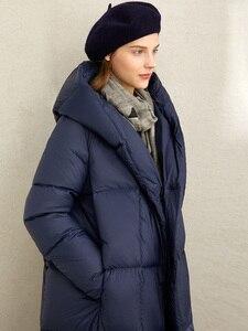 Image 5 - Amii зимняя одежда на белом утином пуху, новая зимняя свободная шапка с наклонными пуговицами, теплая длинная одежда для хлеба, 11970463
