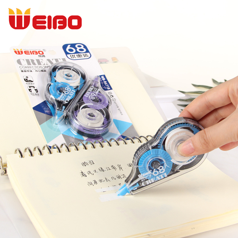 WEIBO 2PCS/Set Correction Tape Material Stationery Office Kids Student Gift School Supplies 16m*2  Plastic Corrector Tapes