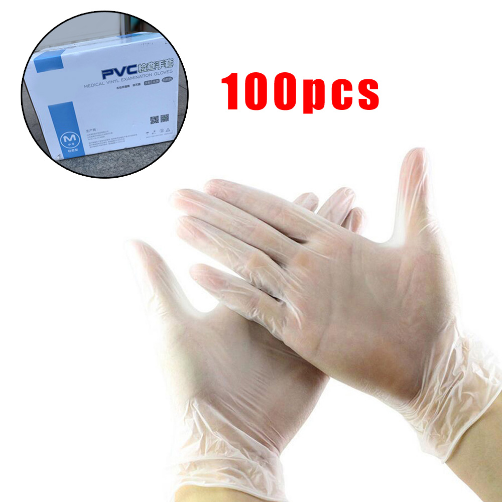100pcs S/M/L PVC Clear Disposable Mechanic Gloves Waterproof Non-Slip Comfortable For Left And Right Hand Dishwashing