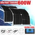 600W USB Панели солнечные IP65 Водонепроницаемый поли солнечные элементы Панели Солнечные с 30A 60A контроллер для телефона автомобиля яхты на коле...