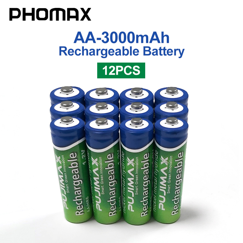 PHOMAX 12PCS AA Rechargeable Battery 1.2V 3000mAh Pre-charged Ni-MH Battery For Mouse Camera Calculator Remote Control Batteri