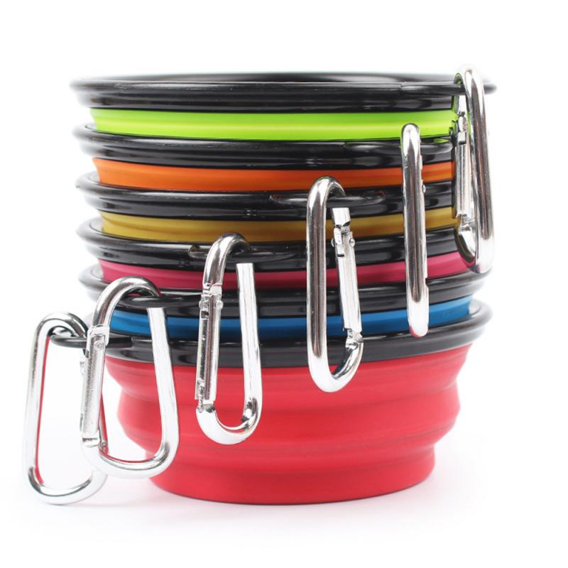 New Collapsible Foldable Silicone Dog Bowl Candy Color Outdoor Travel Portable Puppy Doogie Food Container Feeder Dish Dropship