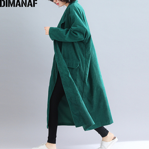 Image 3 - Dimanaf jaquetas femininas plus size longo casaco de veludo outono inverno tamanho grande cardigan roupas femininas solto oversized outerwear 2021