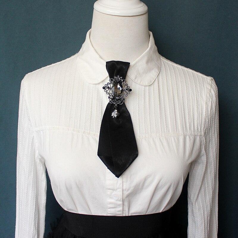 Purple ribbon brooch Grey womens necktie Cross brooch pin