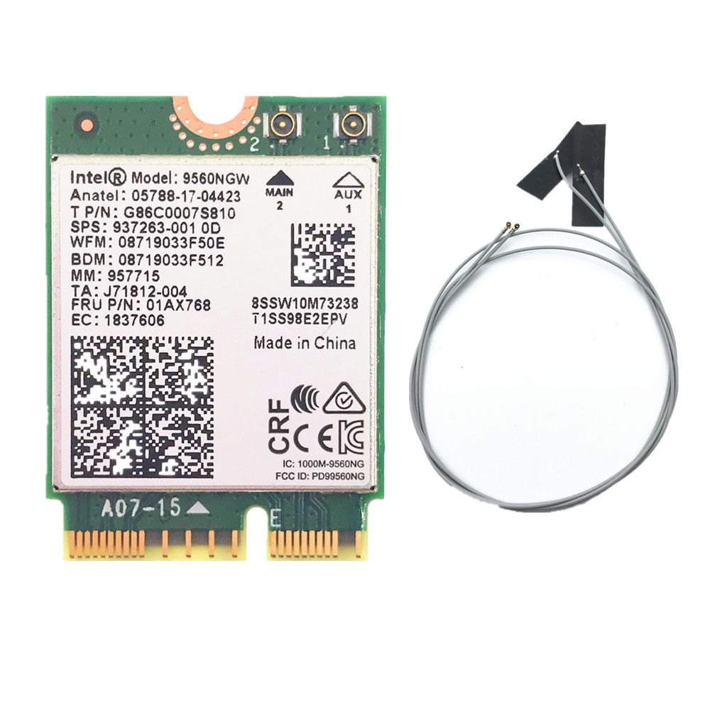 With 2pcs Antennas For Intel AC 9560 9560NGW 1.73Gbps Wireless Card NGFF M2:CNVi Wifi Card 802.11ac Bluetooth 5.0 For Windows 10