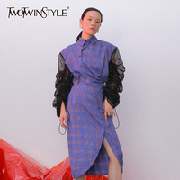 TWOTWINSTYLE Women Purple Plaid Asymmetrical Pleated Dress New Lapel Long Puff Sleeve Loose Fit Fashion Spring Autumn 2019