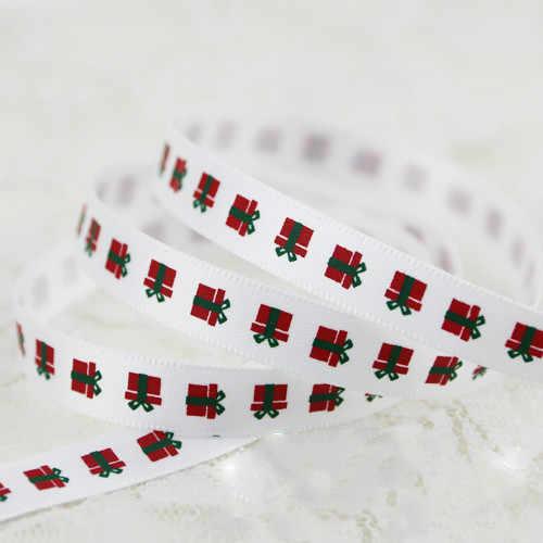 9mm אדום ירוק מכתב מודפס סאטן סרטים (5 מטר אורך) חג המולד ליל כל הקדושים חתונה מסיבת יום הולדת אריזת מתנה גלישת סרטים