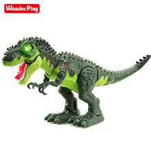 WonderPlay Walking Dinosaur T-Rex Toy Figure with Lights and Sounds Realistic Tyrannosaurus Dinosaur Toys for Kids Battery Opera remote control tyrannosaurus velociraptor giganotosaurus rugops rc walking dinosaur toy with shaking head light sounds