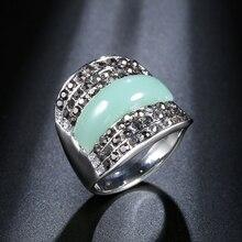 Kinel Boho Jewelry Green Stone Geometric Vintage Rings For Women Mosaic Black Rhinestones Bijoux 2020 New