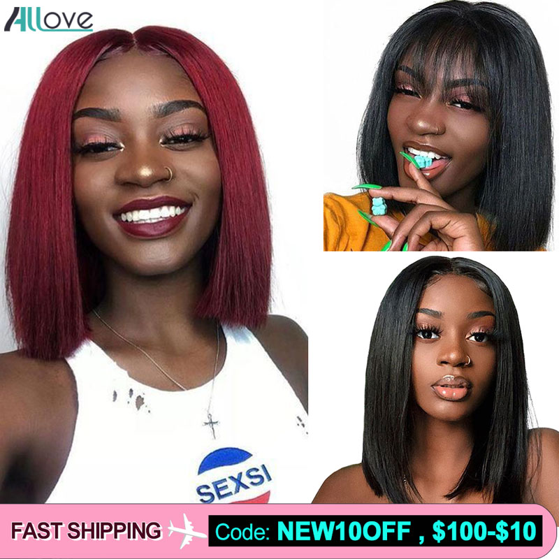Allove Red Bob Wigs 613 Bob Lace Front Wigs With Bangs13X4 Brazilian Straight Human Hair Wigs 99J Ombre Bob Human Hair Wig