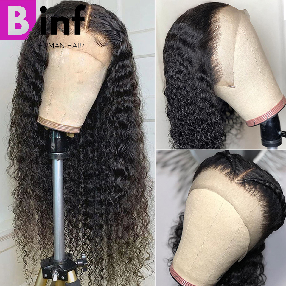 BINF Hair Indian Deep Wave Human Hair Wigs 360 Lace Frontal Wig With Baby Hair Pre-Plucked Non Remy HairNatural Black For Women