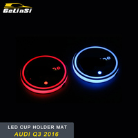 GELINSI Car Styling LED Light Drink Cup Holder Pad Mat Trim Sticker Interior Accessories for Audi Q3 8U 2016 2017 2018