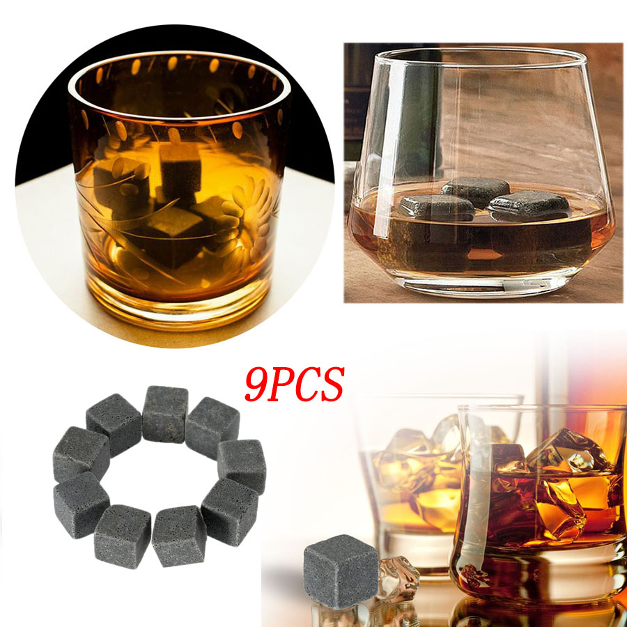 9pcs Champagne Whiskey Stones Ice Cube Cooling Whisky Stone Whisky Rock Cooler Wedding Gift Favor Christmas Home Bar Tools in Wine Coolers Chillers from Home Garden
