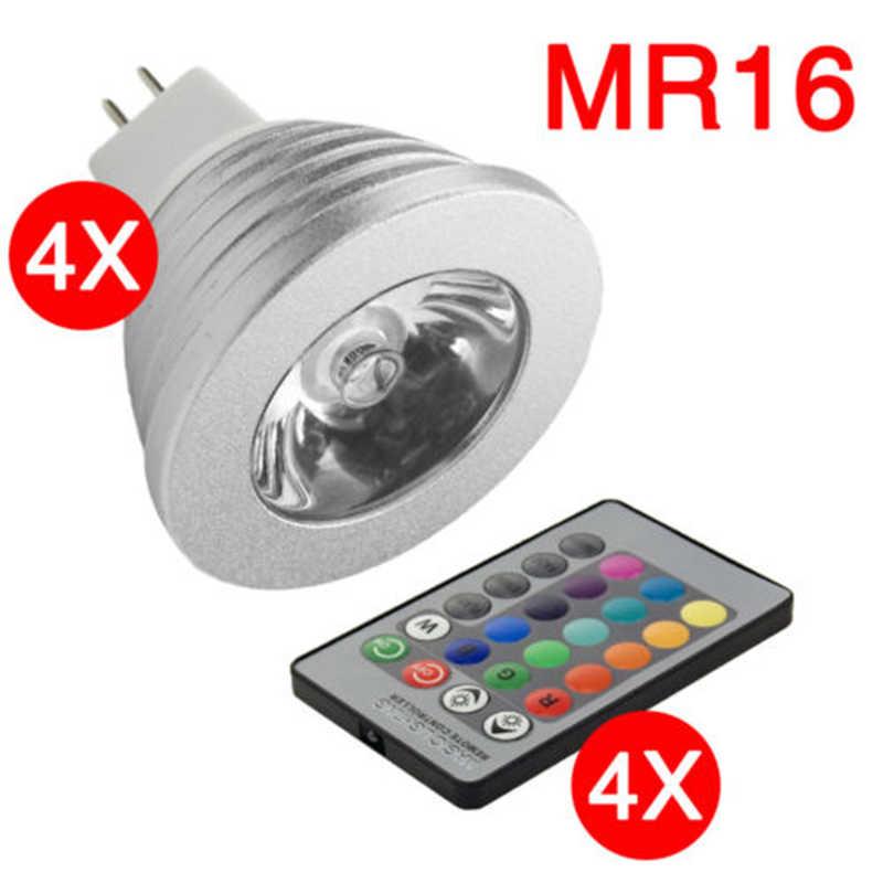 GU10/MR16/E14/E27 RGB светодиодный светильник 16 цветов ИК-пульт дистанционного управления Точечный светильник серебристый