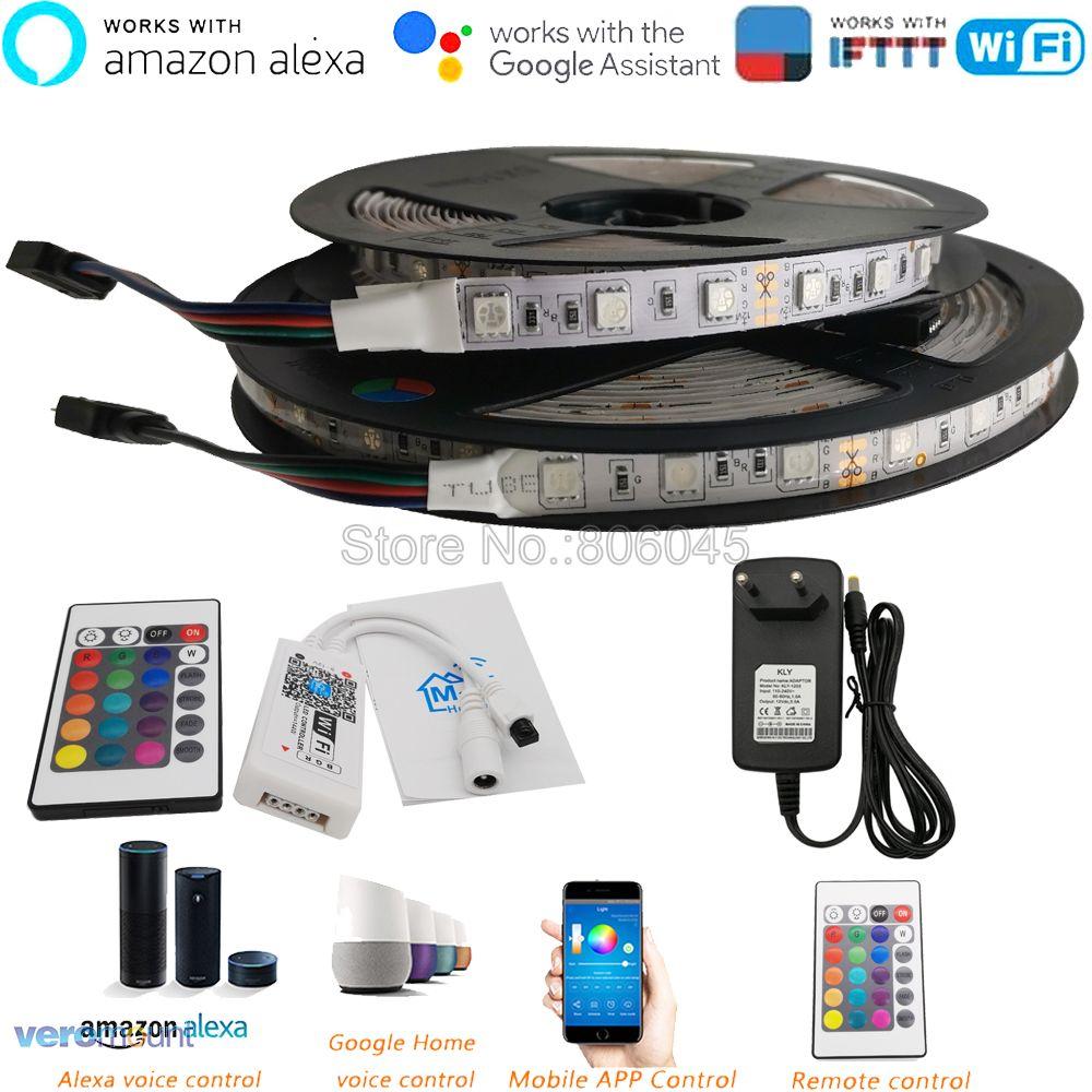 5m 12V 5050 Flexible LED Strip Set RGB Ribbon 60LED/M + 24Key IR Remote WiFi Controller Alexa Google Home Voice Control+ Power