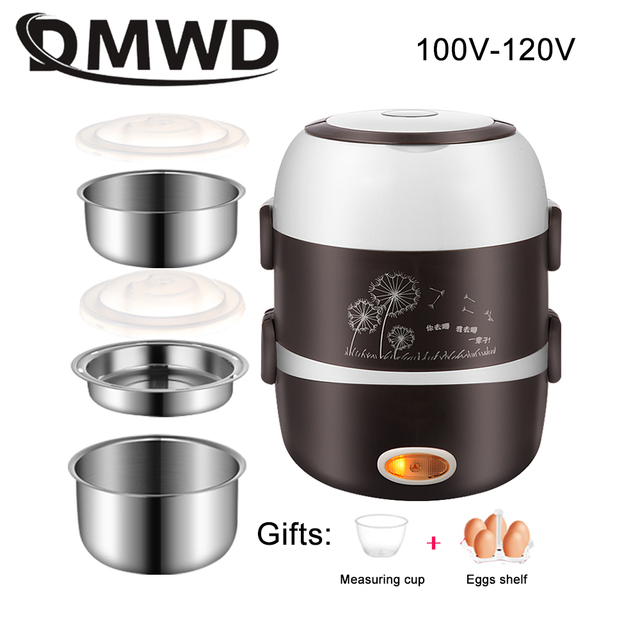 DMWD Mini Electric Rice Cooker Stainless Steel 2/3 Layers Steamer Portable Meal Thermal Heating Lunch Box Food Container Warmer Consumer Electronics