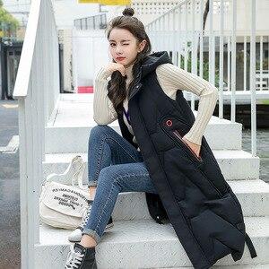Image 2 - 2020 Autunno Inverno di Grandi Dimensioni di Moda Caldo Morbido Ed Elegante con Cappuccio Delle Donne di Stile Coreano Lungo Delle Signore Del Cotone Della Maglia Gilet