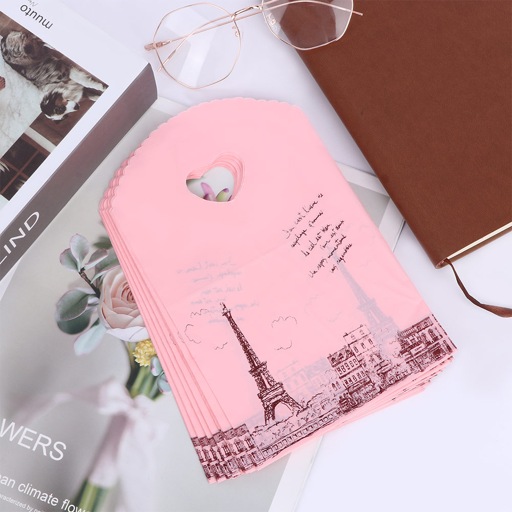 50pcs/lot Cute Pink Paris Tower Packaging Bags Plastic Shopping Bags Mini Handbag Wedding Party Favor Gift Bags(China)