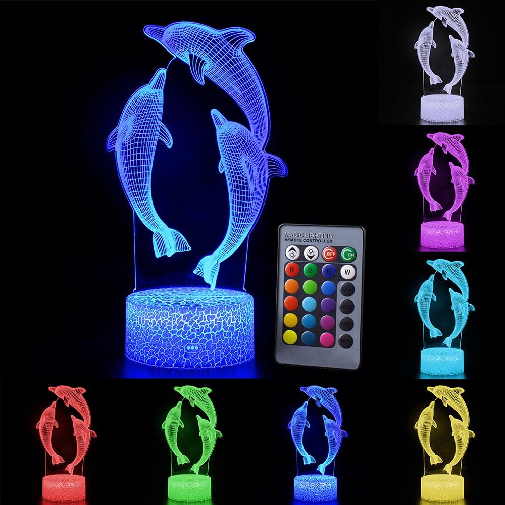 СВЕТОДИОДНЫЙ 3D ночник с дистанционным/сенсорным управлением, модный светодиодный светильник с рисунком дельфина, светодиодный настольный ...