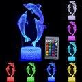 Светодиодный ночник с дистанционным/сенсорным управлением  3d-светильник с модным рисунком дельфина  светодиодная настольная лампа с измен...