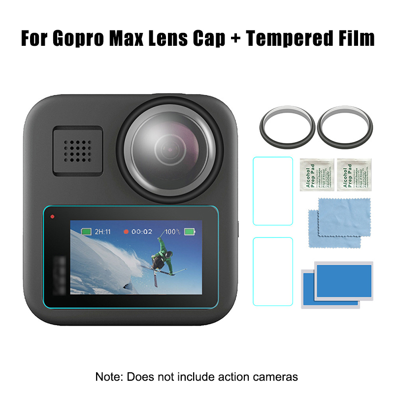 1 Set Tempered Glass Protective Film With Camera Lens Cover For GoPro Max B99
