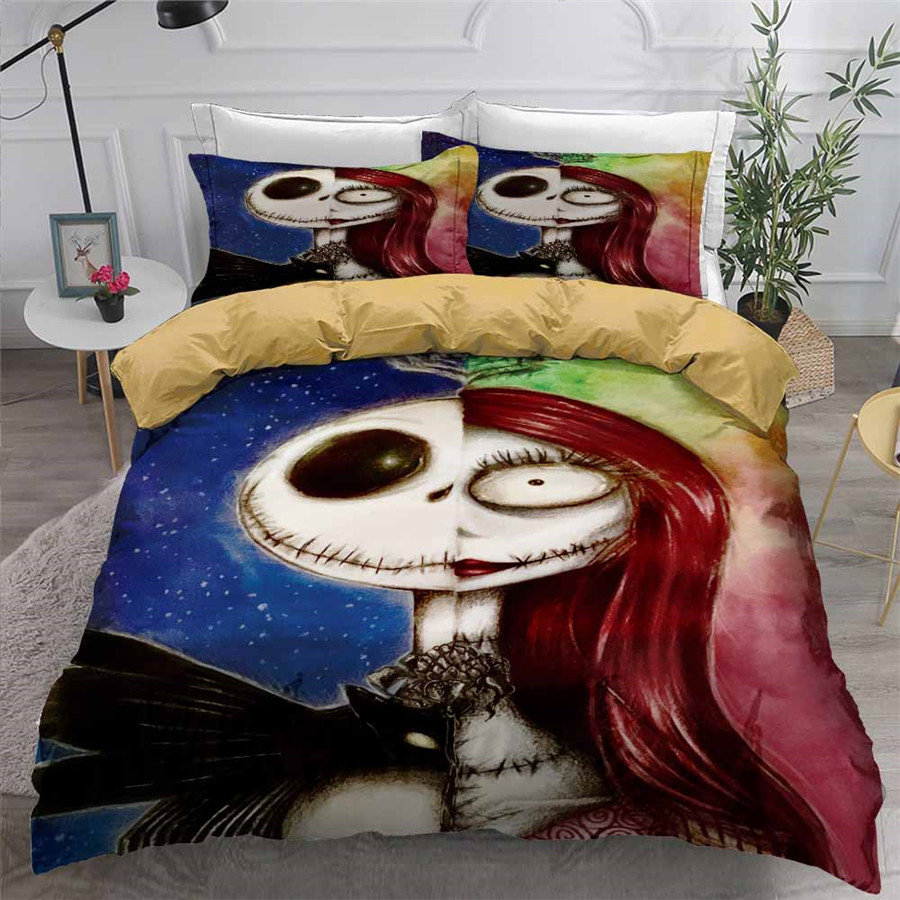 HELENGILI 3D Bedding Set Nightmare Before Christmas Print Duvet Cover Set Bedcloth with Pillowcase Bed Set Home Textiles #SDY15