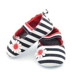 Хлопковая обувь с цветочным принтом для новорожденных девочек мягкая полосатая обувь для кроватки 0-18M # E