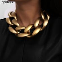Exaggerated Rock Chunky Chain Necklace Men Steampunk Female Accessories Cuban Gold Twist Big Thick Necklace Women Prom Jewelry