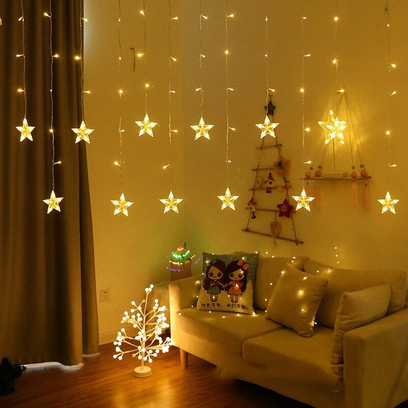 EU Plug Garland Star Lamp Fairy Curtain Light Christmas Lights Decoration Holiday Lights Sting For NEW YEAR Wedding Freeshipping