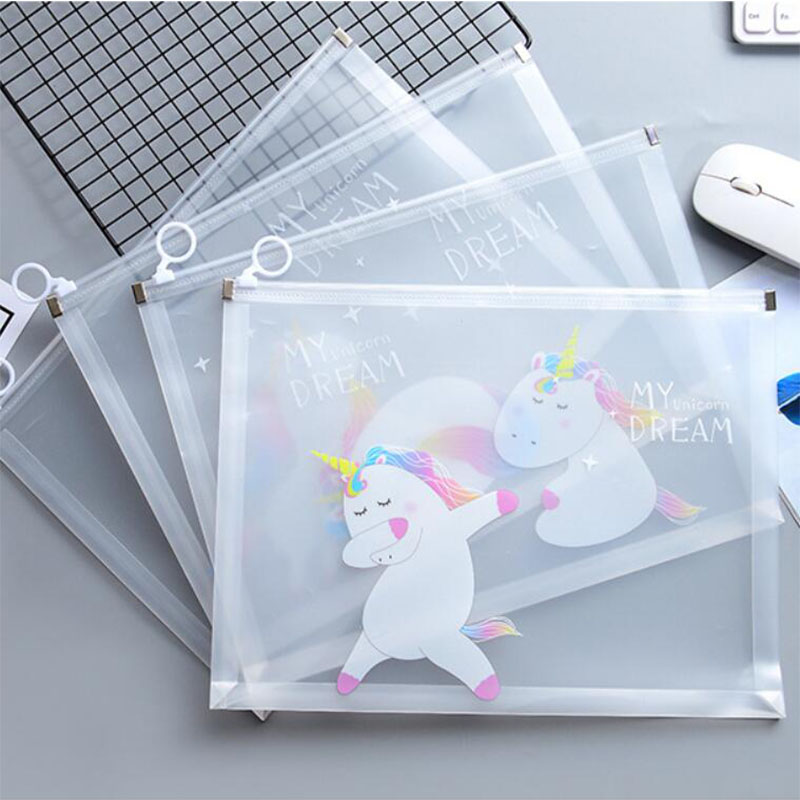 Cartoon Unicorn Sakura File Holder Transparent Portable Zipper Document Bag Korean Stationery Gift Office School Supplies
