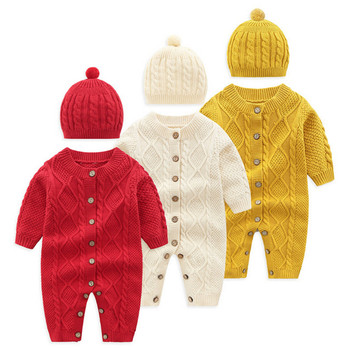 Newborn Infant Baby Boys Girls Sweaters Knit Cotton Romper Jumpsuit Winter Outfits Clothes Hat Red Yellow White