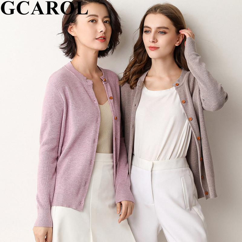 GCAROL New Women 30 % Wool Cardigan Minimalist Single-breasted Short Knitted Jacket Plus Size 3XL Fall Winter Warm Pure Cardigan