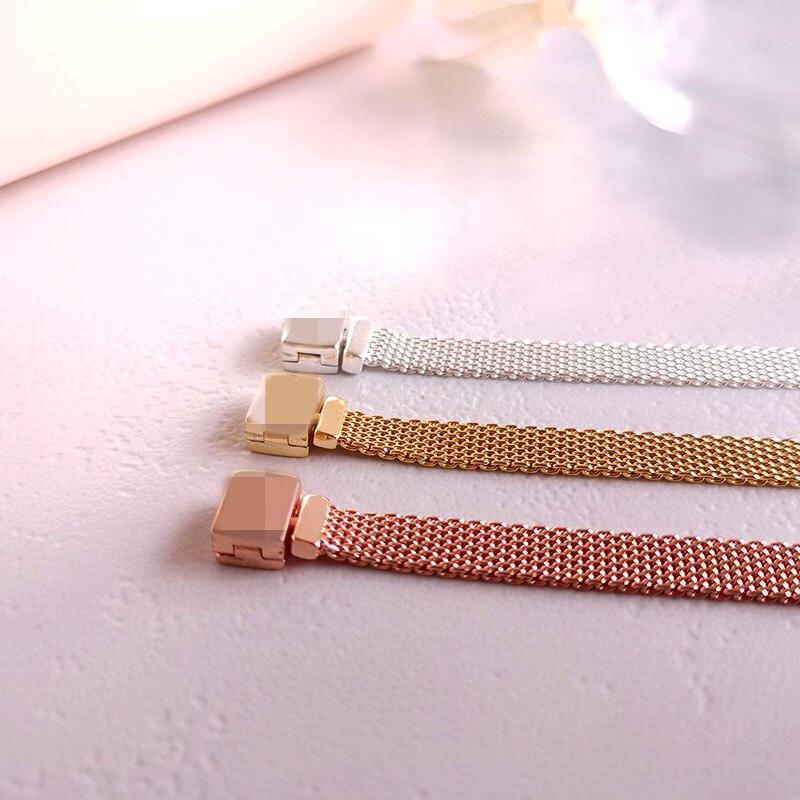 Plata 925 oro rosa oro Color negro reflexiones pulsera marca europea encanto reloj pulsera Original serie R