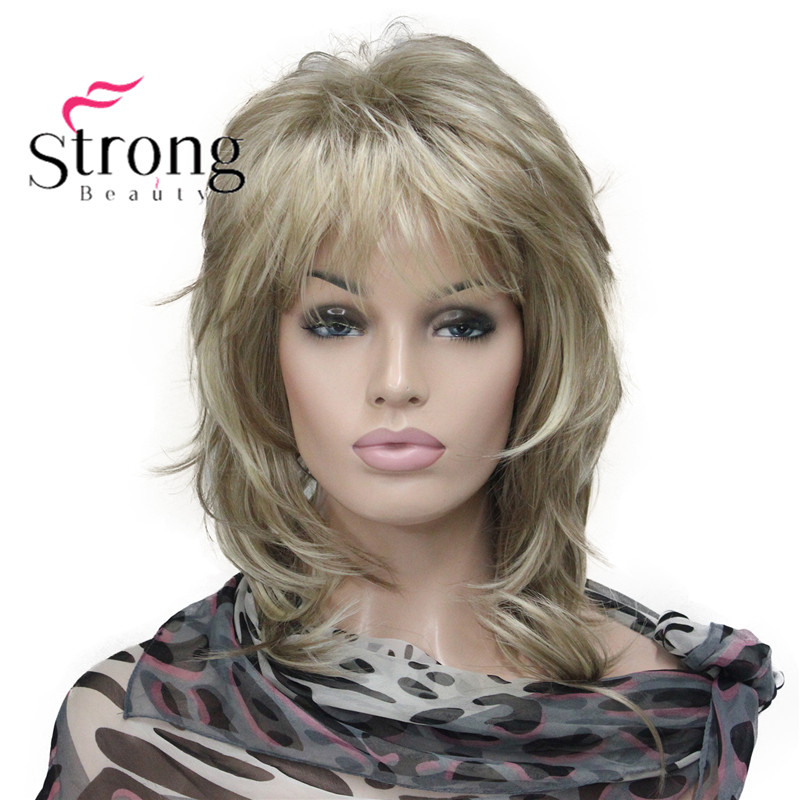 StrongBeauty Blonde Highlighted Long Soft Layered Shag Synthetic Wig For Women