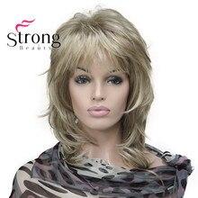StrongBeauty блонд выделенный Длинный мягкий многослойный Shag синтетический парик для женщин