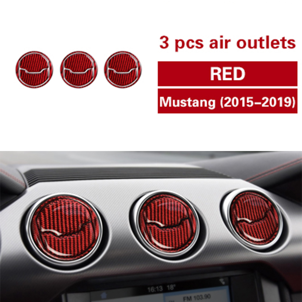 Carbon fiber car interior decoration,central control air outlet panel decoration,suitable for Ford Mustang 2015-2019car stickers
