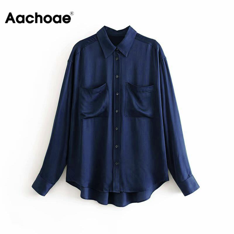Solid Casual Stain Blouse Women Long Sleeve Elegant Double Pocket Shirts Female Office Turn Down Collar Blouse Top Blusa Mujer