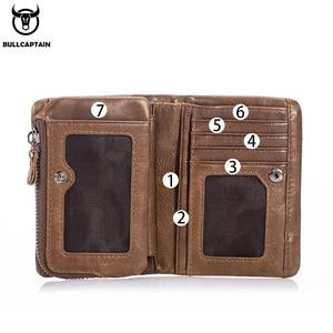 Image 3 - BULLCAPTAIN สั้น Tri พับซิปกระเป๋าสตางค์หนังวัวผู้ชายกระเป๋าสตางค์หนังเหรียญเหรียญเงินกระเป๋าธุรกิจ RFID ผู้ถือ