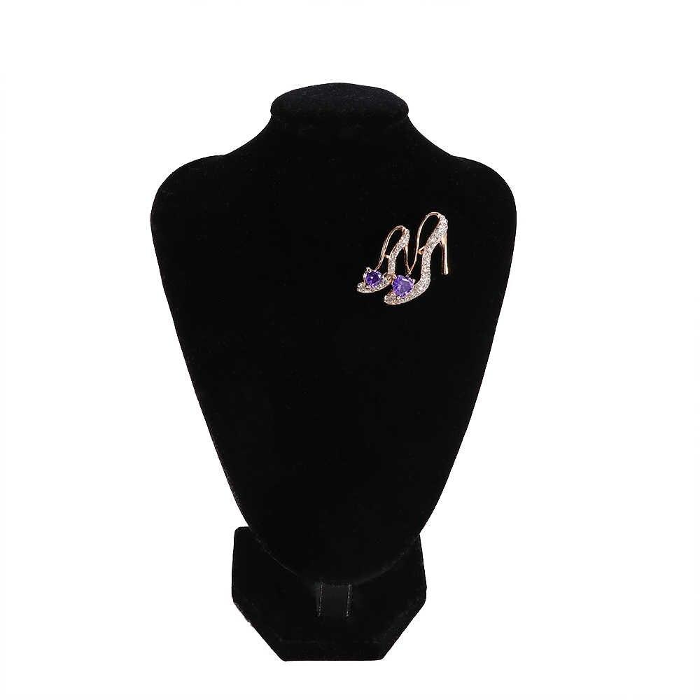 Kristal Berlian Imitasi Bertumit Tinggi Sepatu Putri Bros Pin Mewah Zircon Jantung Dekorasi Sepatu Lencana untuk Wanita Pesta Perhiasan