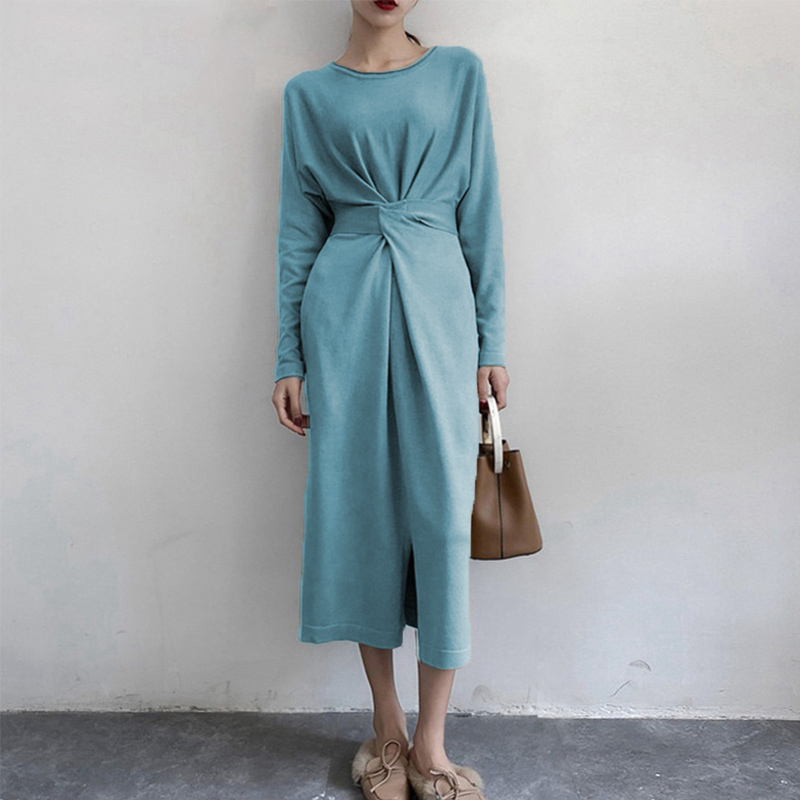 Women's Long Sleeve Split Knitted A-line Midi Dress High Waist Bowtie Bandage Lace Up Female Dresses 2019 Spring O-Neck Clothes 5