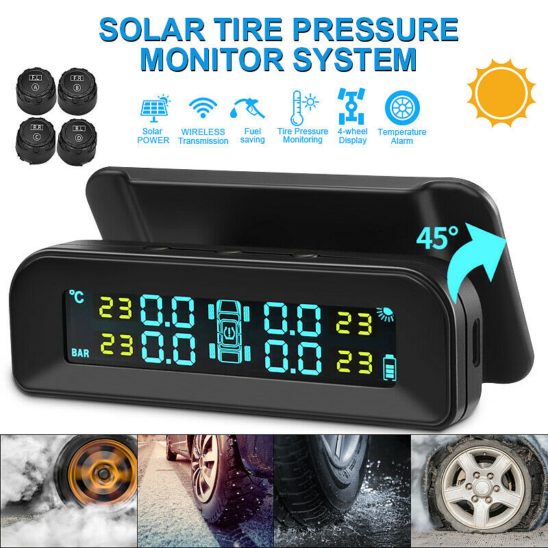 Solar Wireless USB TPMS Car Tire Pressure Monitor System HD LCD Display 4 External Sensor Tire Pressure Temperature Warning(China)