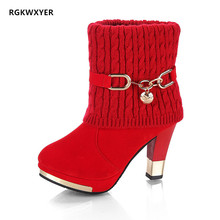 RGKWXYER New Womens Boots Ankle Heels Fashion Chunky Heel Booties Sexy Martin Short Tube Female Shoes Size 35-43
