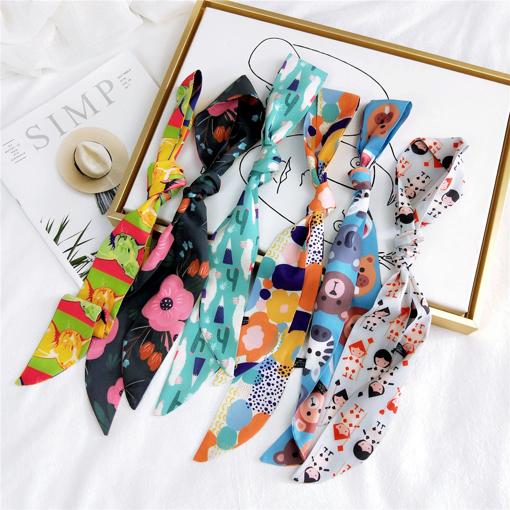 2020 New Spring Summer Silk Satin Hair Tie Scarf Stole Female Women's Animal Cat Floral Printed Twilly Handbag Scarfs For Bag