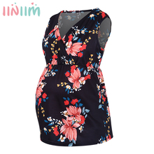 Nursing-Top Maternity-Blouses-Tops Pregnant-Clothing Long-Sleeve Womens V-Neck Floral-Print
