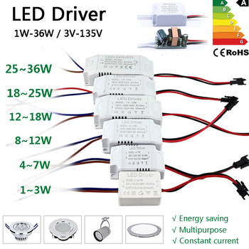 LED Driver 300mA Transformer Constant Current Power Supply Unit AC85-265V 110V 220V to DC 12V 24V 1W 3W 5W 10W 18W 20W 25W 36W image