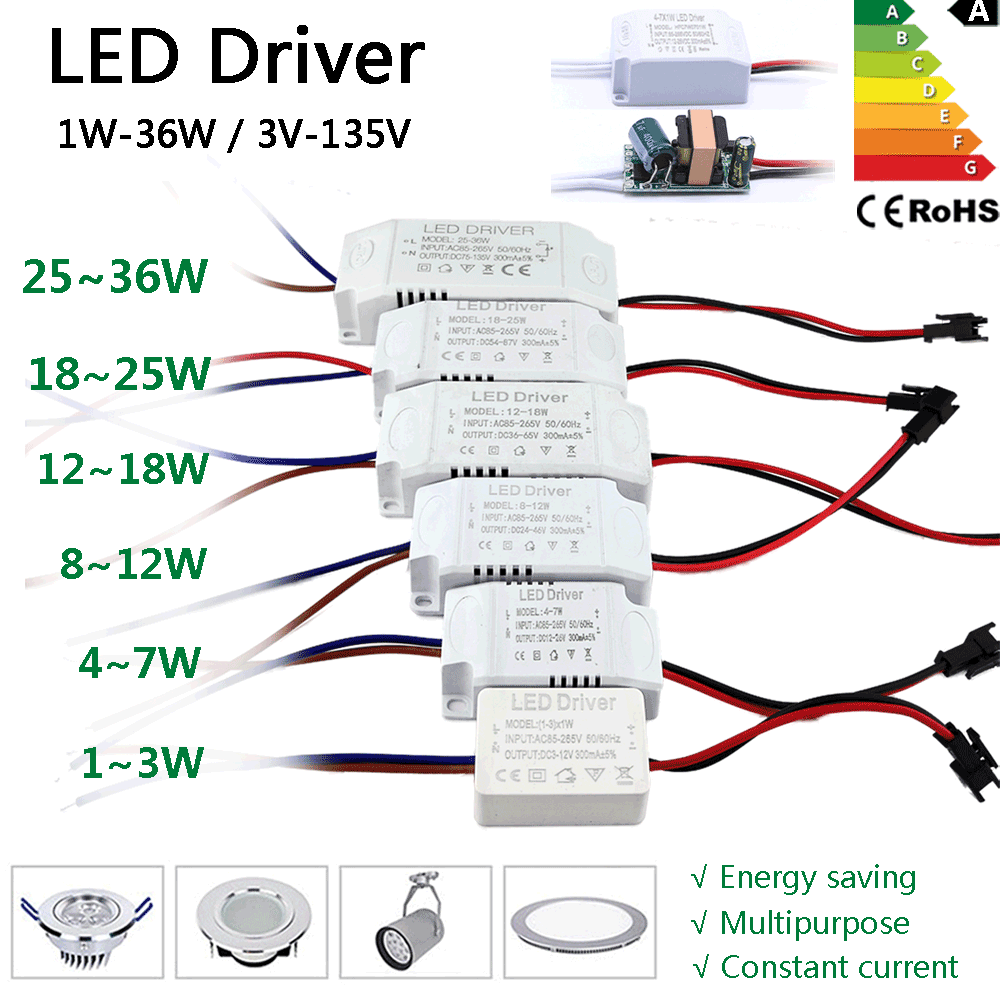 LED Driver 300mA Transformer Constant Current Power Supply Unit AC85-265V 110V 220V To DC 12V 24V 1W 3W 5W 10W 18W 20W 25W 36W