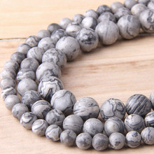 Natural Grey Map stone beads Wholesale natural Round stripe gem Jaspers Stone loose 8 mm beads For Jewelry Making DIY Bracelet(China)