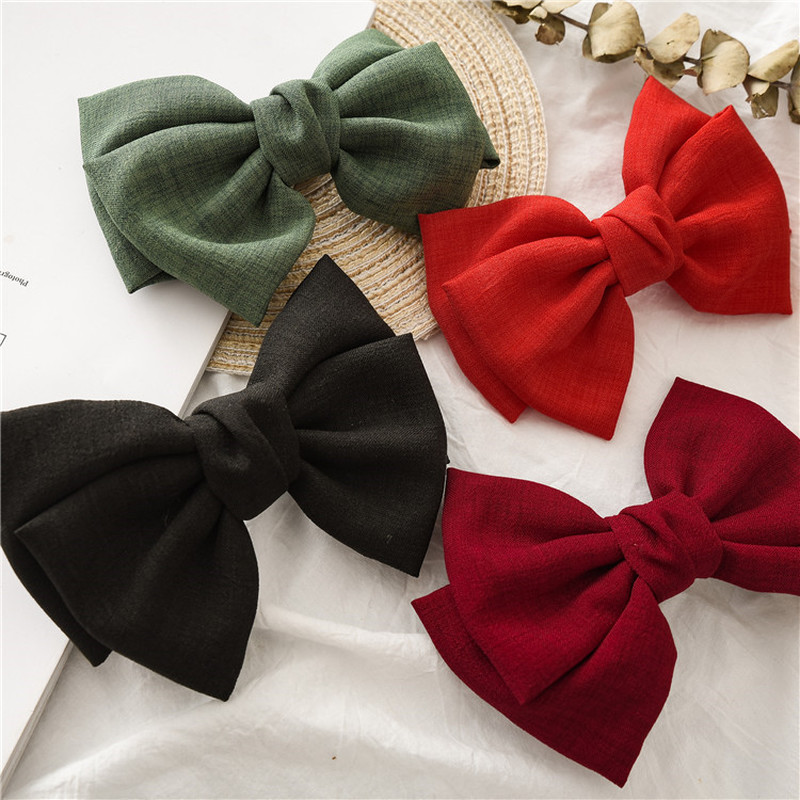 Fashion Vintage Linen Oversized Bow Hair Clip Korean Headgear Spring Ponytail  BB Hair Clip Simple Fabric Woman Head Flower Gift