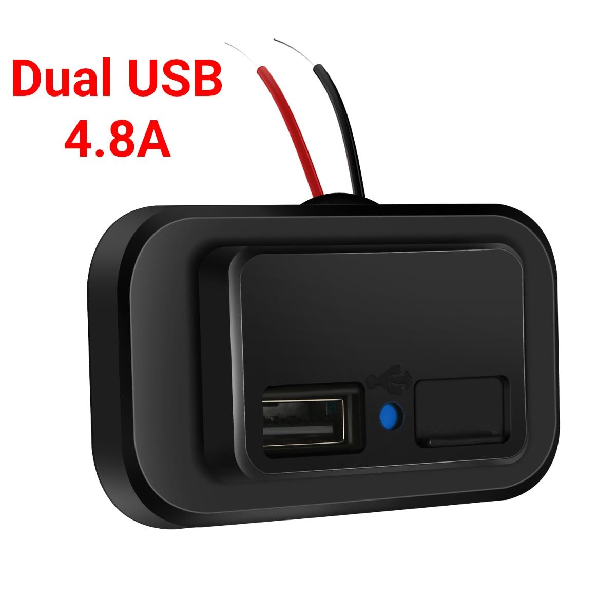 4.8A Dual USB Зарядное устройство Разъем 12V-24V для мото Авто Грузовик ATV автомобилей на колесах автобуса 2.4A + 2.4A Мощность адаптер розетка с защитой ...